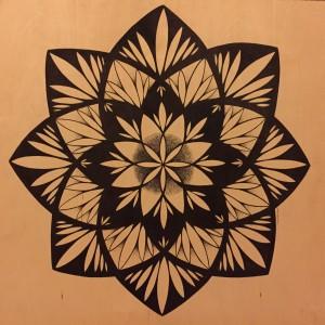 lotus rising black and white on wood mandala