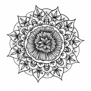 dandelion flower black and white mandala