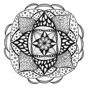 fire & ice black and white mandala