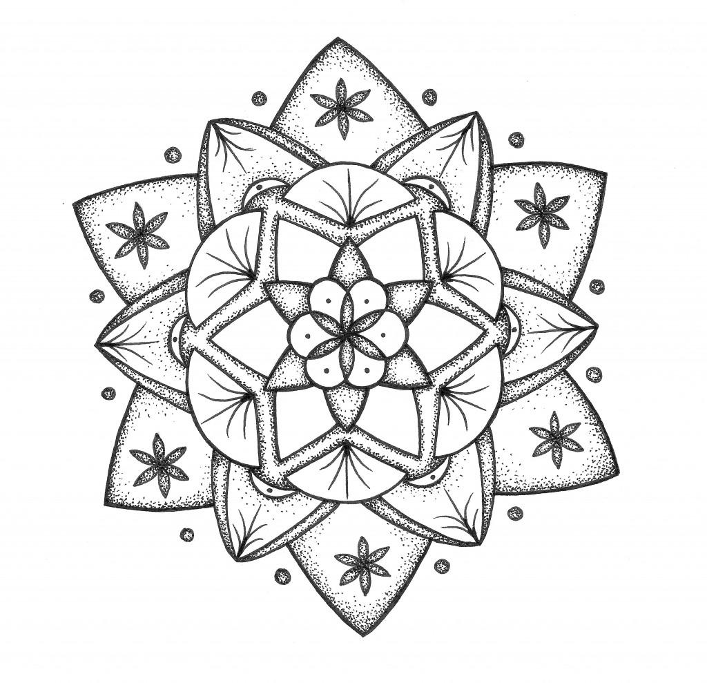 flower of life black and white mandala