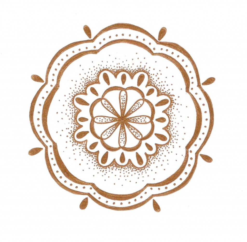 gold metallic bubble shaped mandala