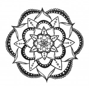 lacy black and white mandala