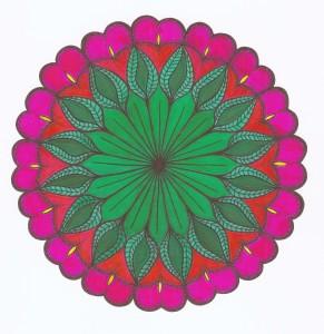 leafty hearts green and pink mandala