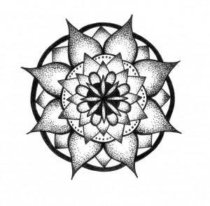 lotus black and white mandala
