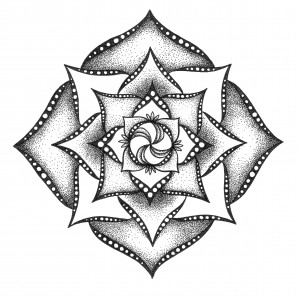 pinwheel black and white mandala
