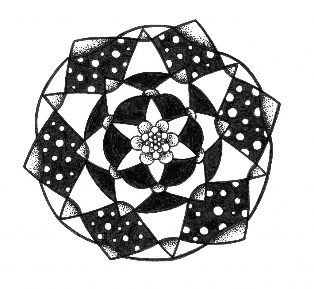 polka dot black and white mandala