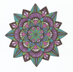 spiral metallic blue green pink and purple mandala
