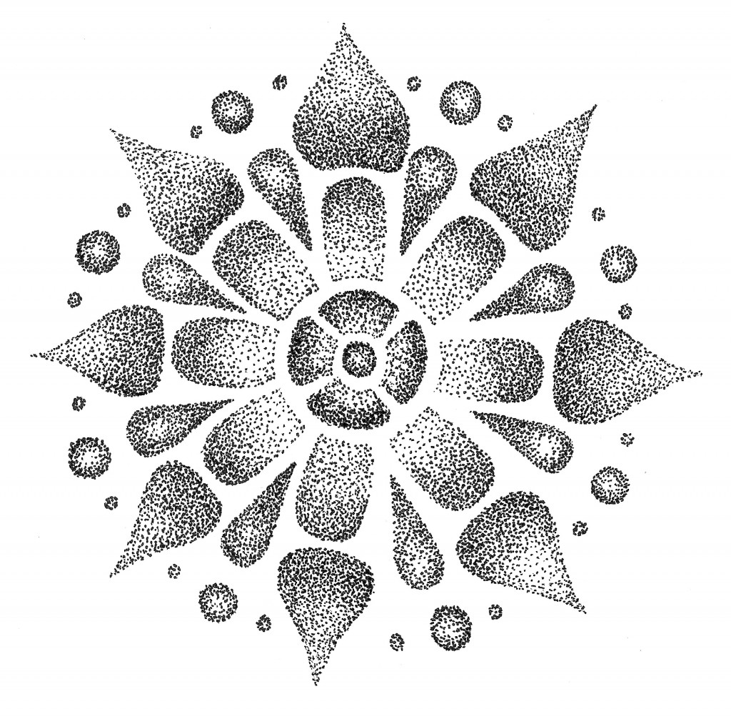 stippling black and white mandala