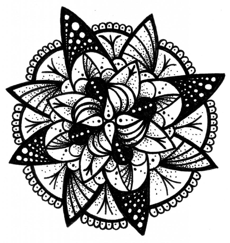 teardrop black and white mandala