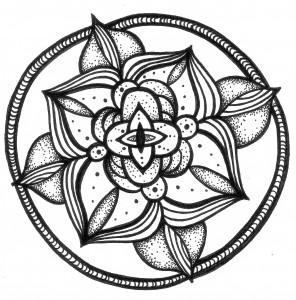 third eye black and white mandala