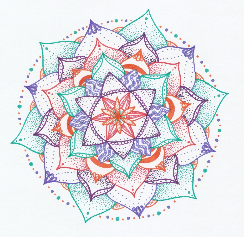 zig zag purple orange and green mandala