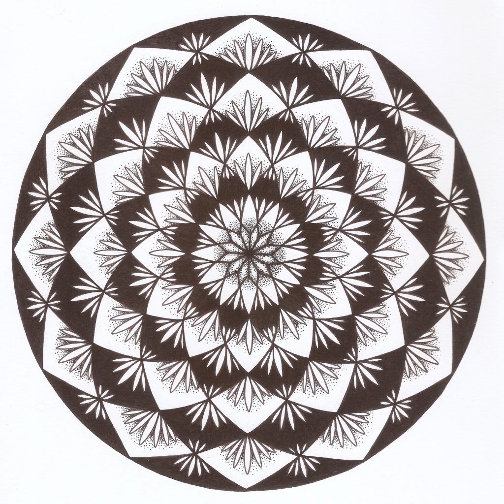 black and white lotus flower mandala drawing