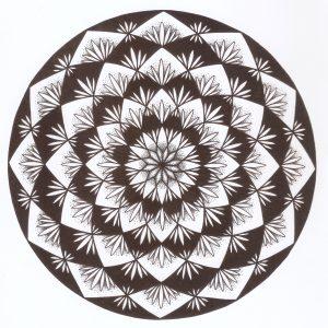 black and white lotus flower mandala drawing