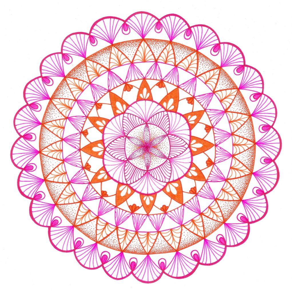 pink, orange and white mandala drawing