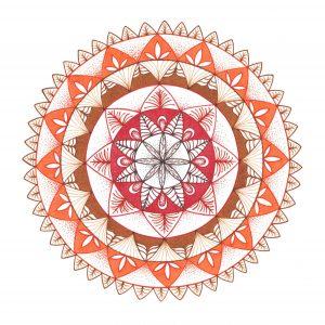 brown, orange and red mandala drawing