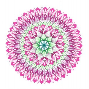 Early Spring pink and green mandala drawing