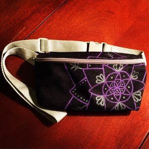 Purple and grey hand drawn mandala on black fanny pack