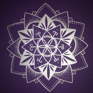 silver mandala on plum cardstock