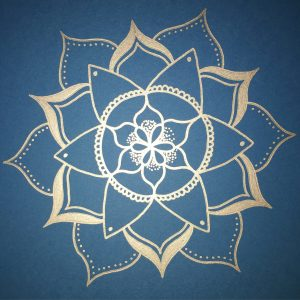 royal blue and silver mandala