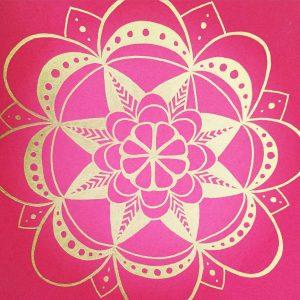 dark pink and silver mandala