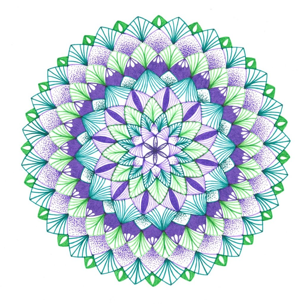 purple and green mandala drawing