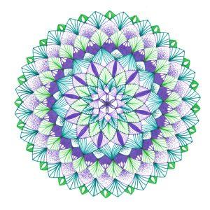 purple and green mandala drawing