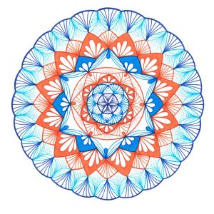 blue and orange mandala drawing