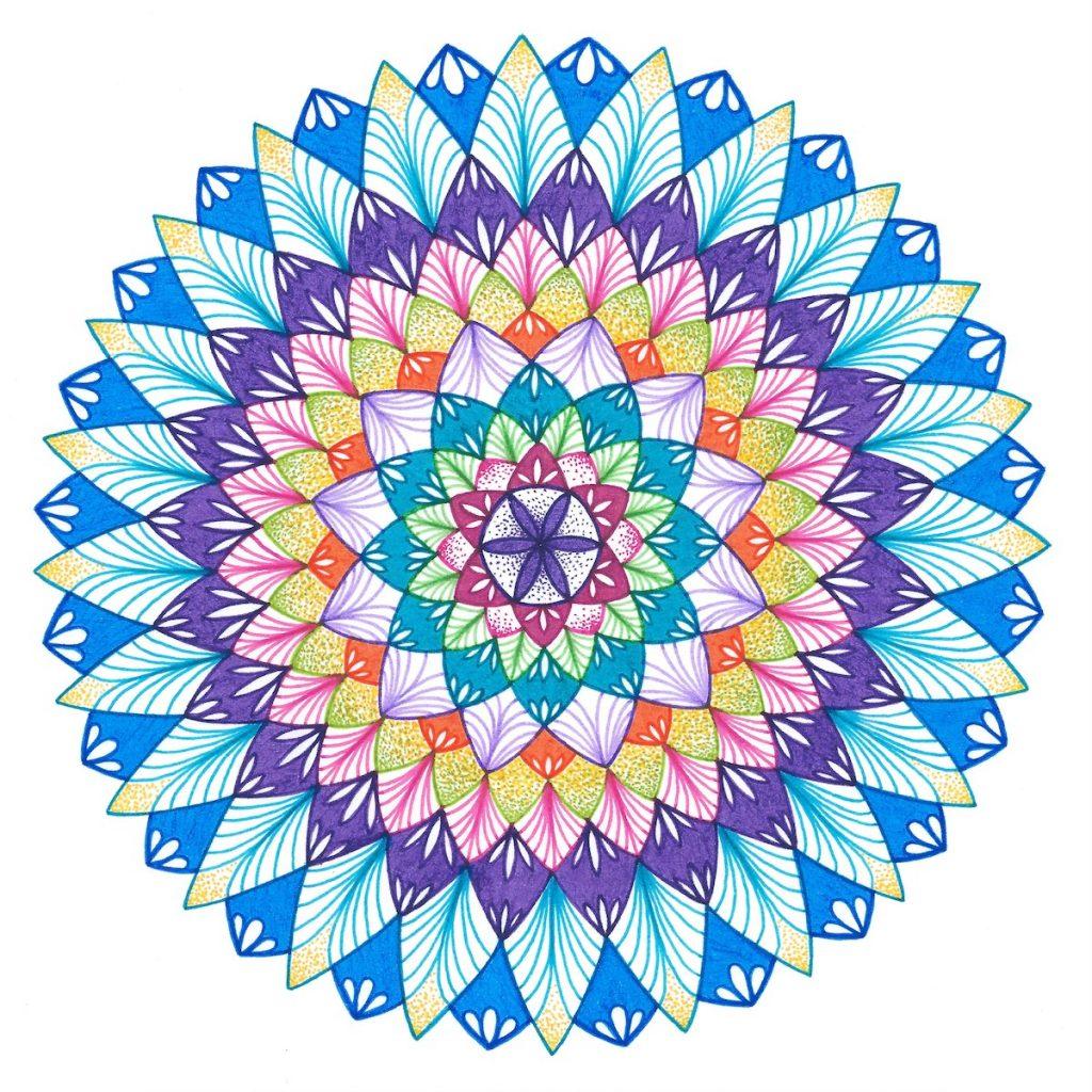 variety of colored ink pen mandala drawing