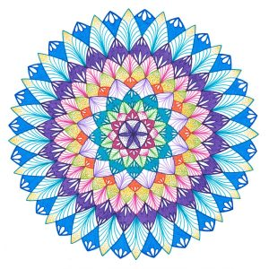 variety of colored ink pen mandala drawing