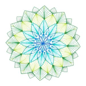 green and blue ink pen mandala drawing