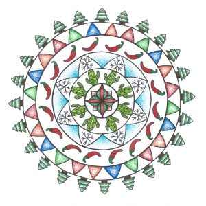 multi-colored ink pen mandala drawing