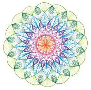 hand drawn with ink pen mandala in assortment of colors