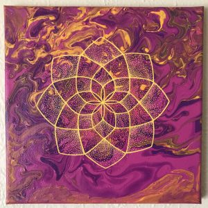 pink, purple, orange and yellow acrylic and oil painting on 12 x 12 canvas