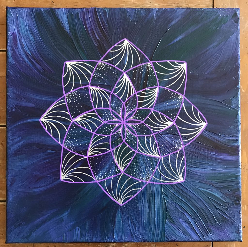 purple, blue, green and silver acrylic and oil painting on 12 x 12 canvas