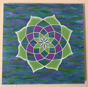 purple, green and blue acrylic and oil painting on 12 x 12 wooden panel