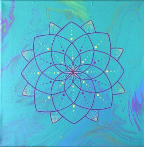 teal, pink and yellow acrylic mandala painting on 12 x 12 canvas