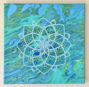 blue, green and yellow acrylic mandala painting on 12 x 12 canvas