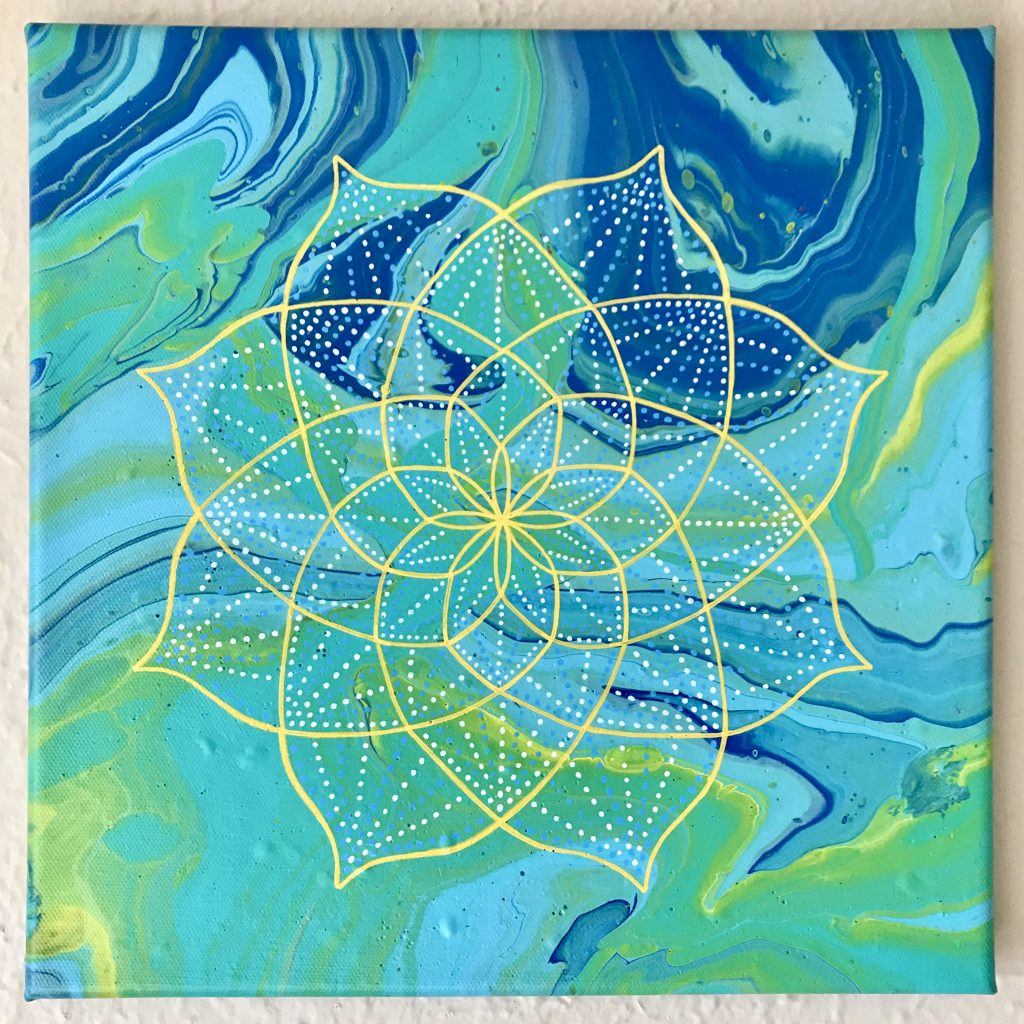 teal, green, blue and yellow acrylic mandala painting on a 12 x 12 canvas