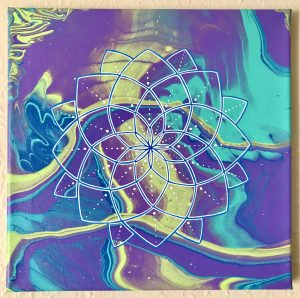 purple, teal, blue and green-yellow acrylic mandala painting on 12 x 12 canvas