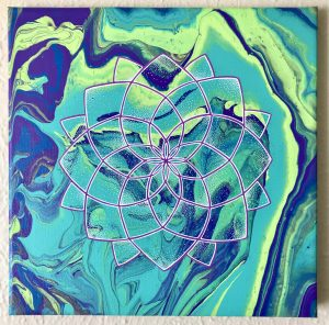 purple, teal and yellow-green acrylic mandala painting on 12 x 12 canvas