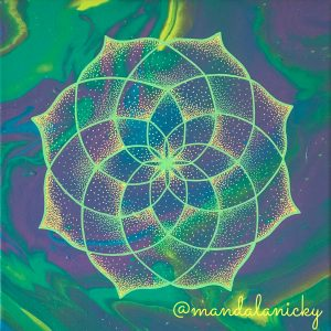 acrylic mandala painting on canvas in blue, green, purple and yellow