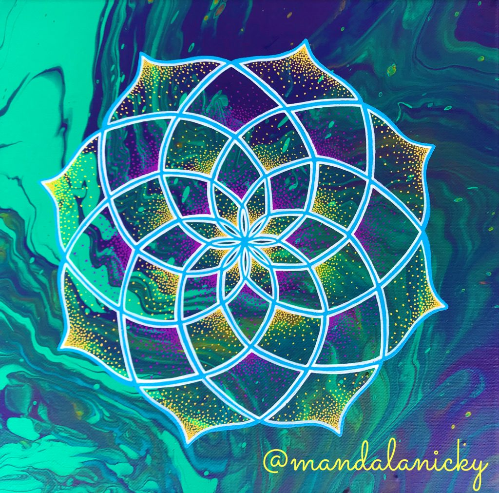 acrylic mandala painting in green and purple
