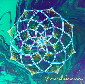 acrylic mandala painting in green and purple