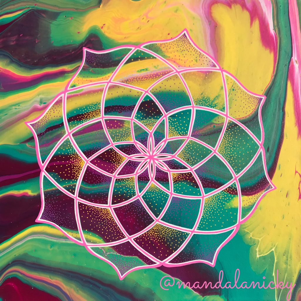 acrylic mandala painting on canvas in blue, green, pink and yellow
