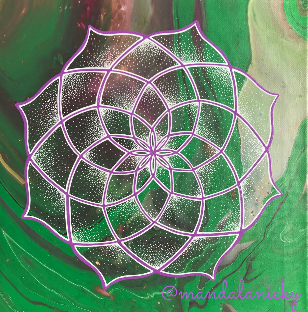 acrylic mandala painting in green, purple and grey