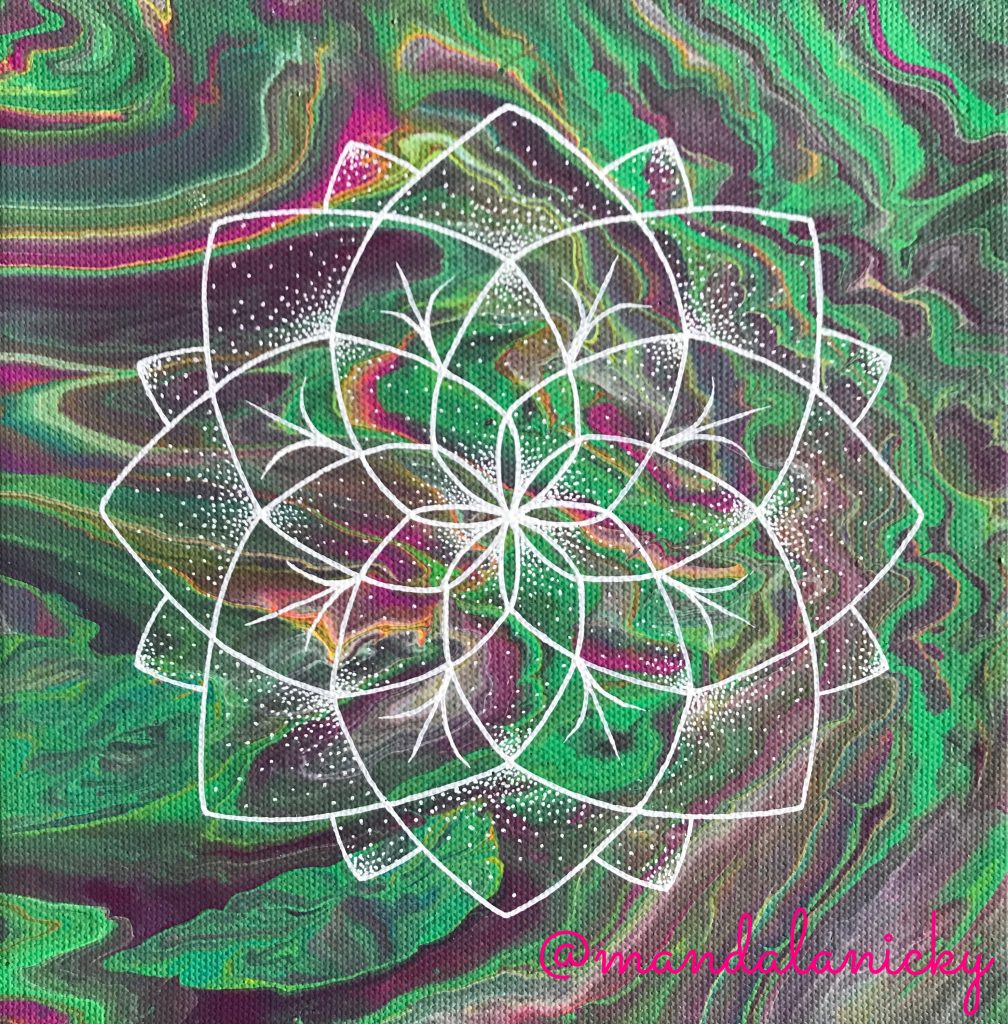 acrylic mandala painting on canvas in green, purple and pink