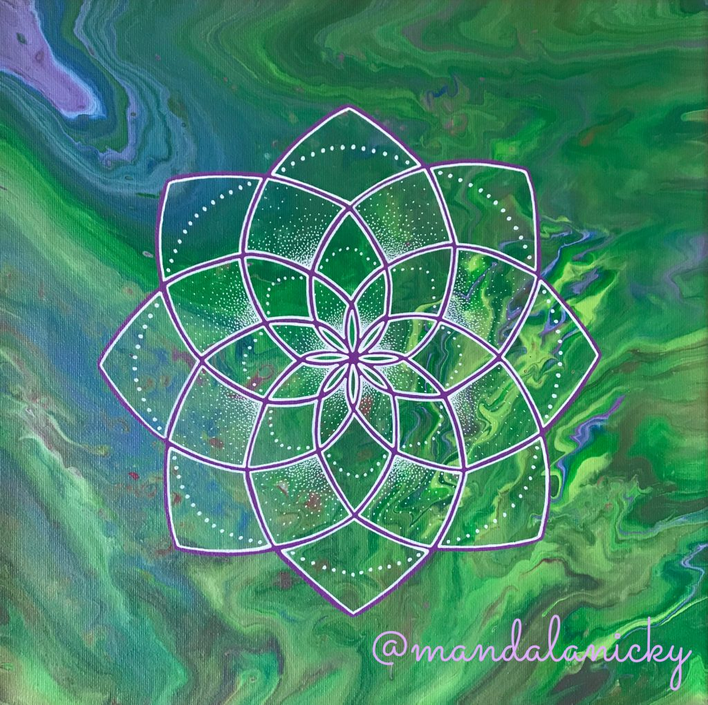 acrylic mandala painting on canvas in green and purple