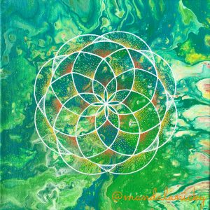 acrylic mandala painting on canvas in green, orange and yellow