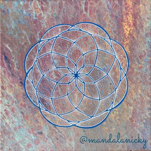 acrylic mandala painting on canvas in blue, red, yellow
