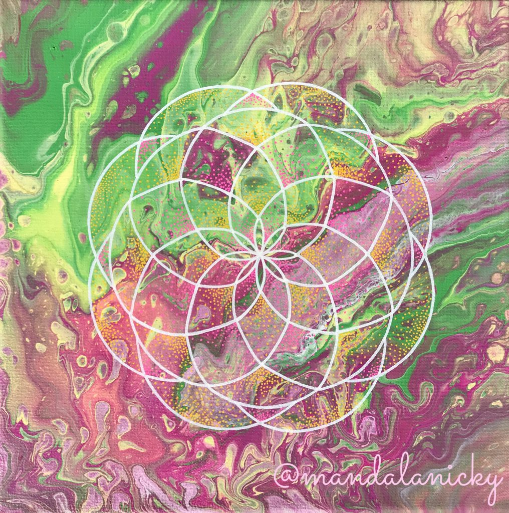 acrylic mandala painting on canvas in green and pink